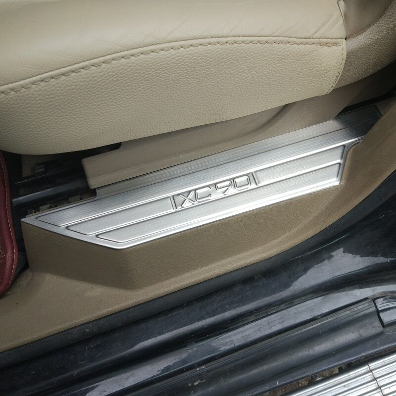 Stainless Steel Inner Door Step Sill Scuff Plate Protector Covers For Volvo Xc90 Ebay