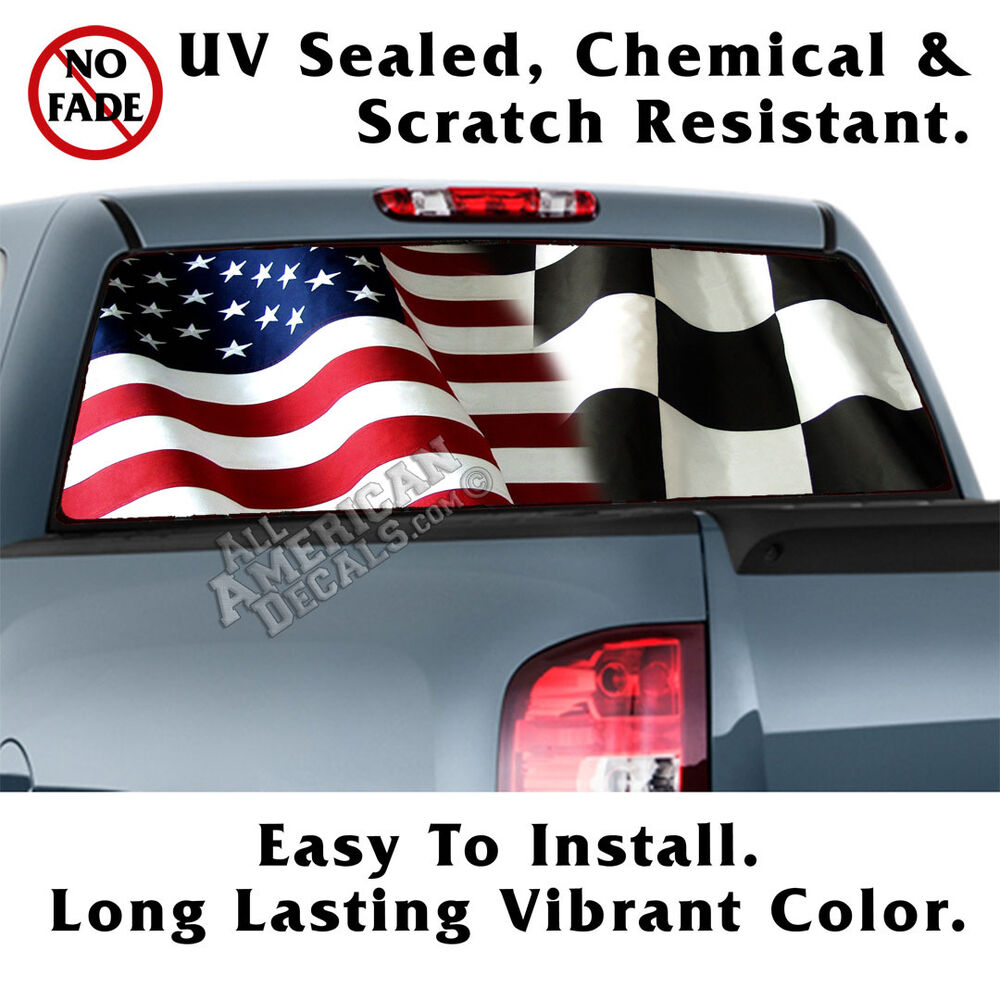 Details about american racer flags back window graphic perforated window film decal