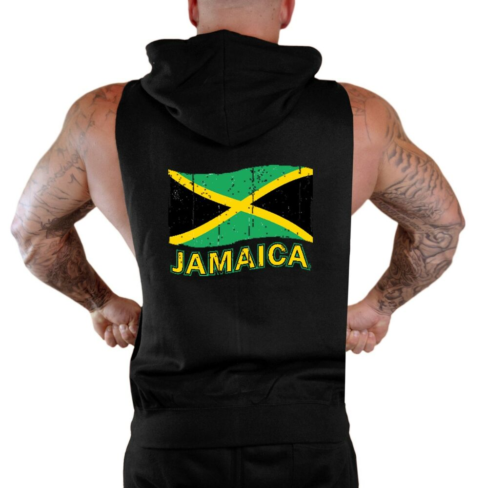 e77adc967 Details about New Men's Grunge Jamaica Flag Black Sleeveless Zipper Hoodie  Vest Rasta Pride