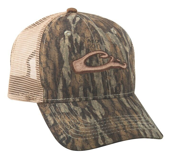ea7b40016d6 DRAKE Waterfowl Systems Raised Logo Mossy Oak Bottomland Camo Mesh Back Cap