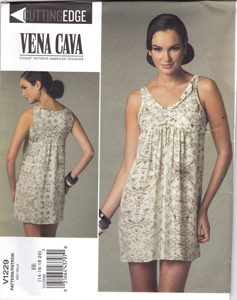 444bbf321 VOGUE 1229 Sew Pattern Vena Cava Baby Doll Dress Empire Waist 14-20 ...