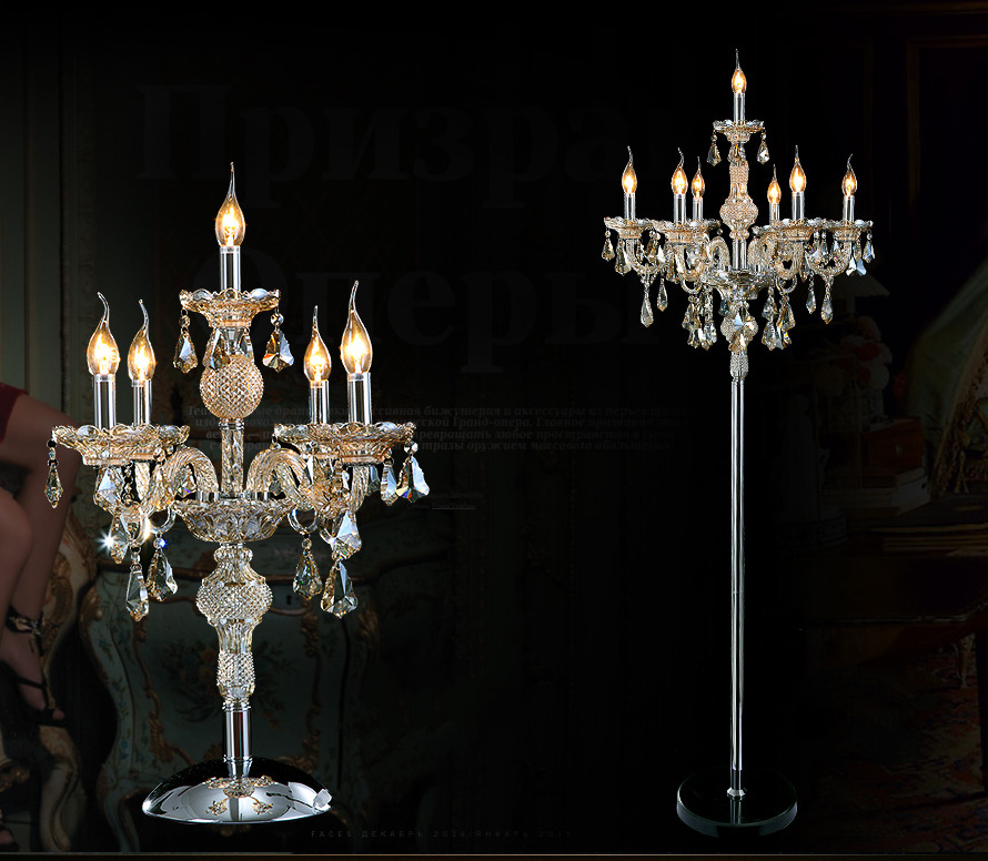 Genuine K9 Crystal Chandelier Floor Lamp/Table Lamp