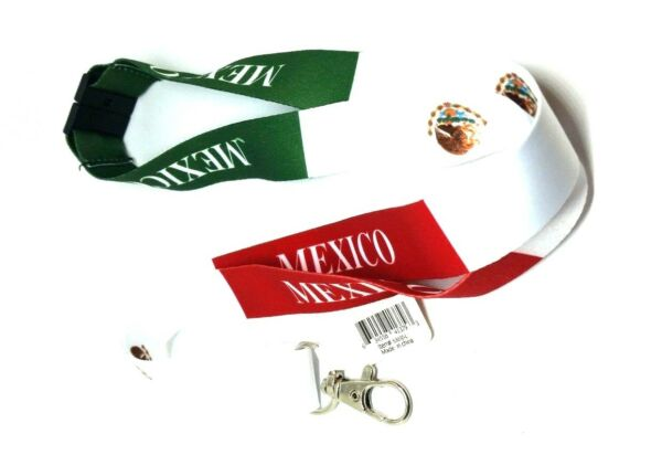Mexican FLAG LANYARD Key chain Neck strap ID Holder Breakaway clasp red green
