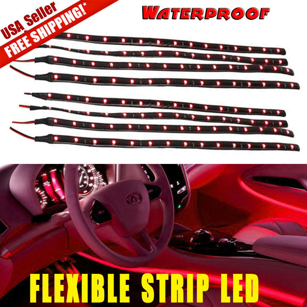 8x red 30cm led car boat motor bike decor flexible light for Dc motor light led