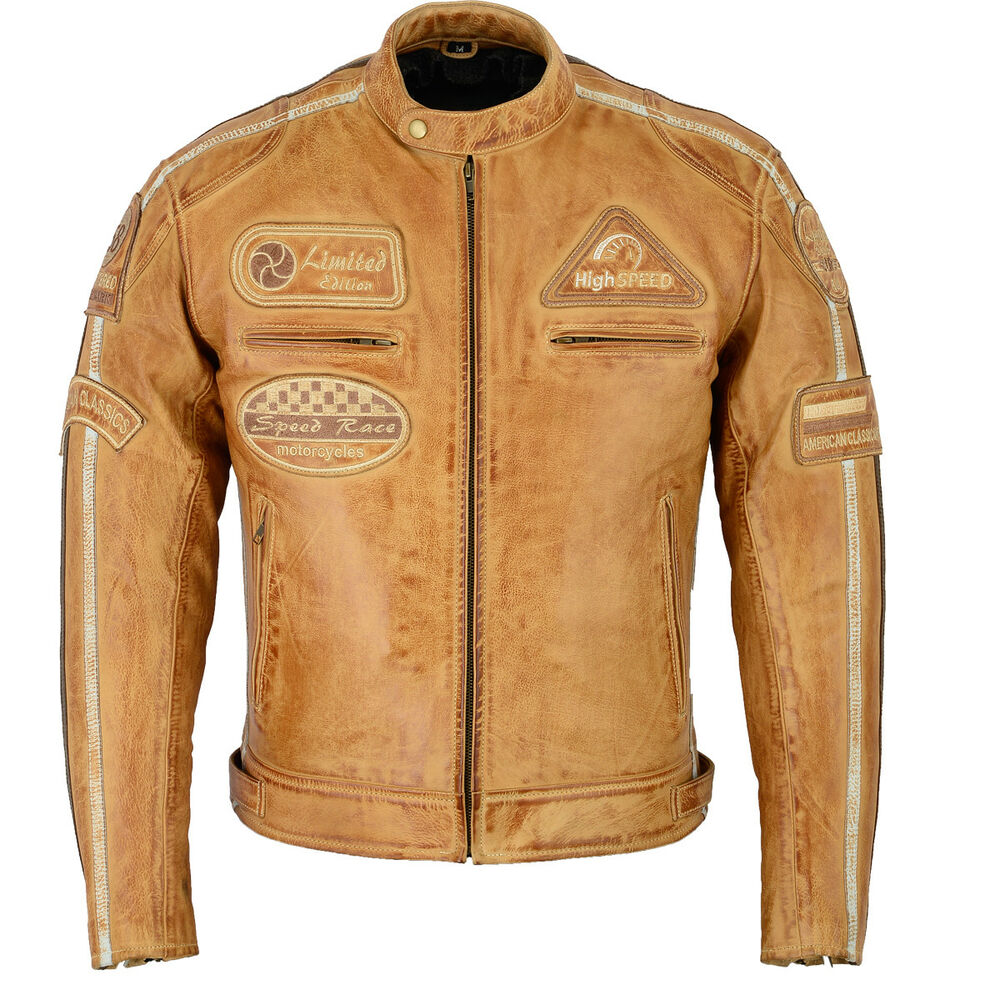 motorrad lederjacke retro lederjacke herren motorrad leder jacke biker jacke ebay. Black Bedroom Furniture Sets. Home Design Ideas