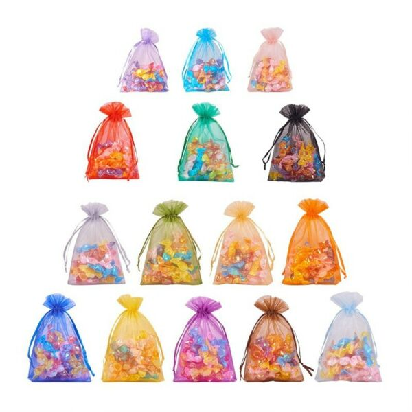 50 pcs Organza Bags Luxury Quality Wedding Jewellery Gift Favour Pouch7x9 9x12cm