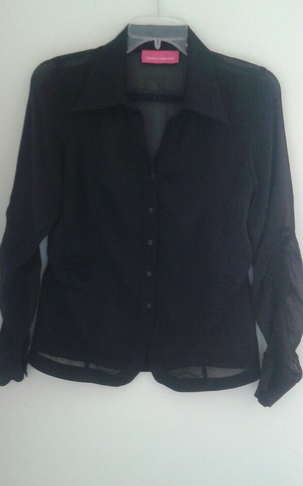 Black Sheer Long Sleeves Button Down Blouse