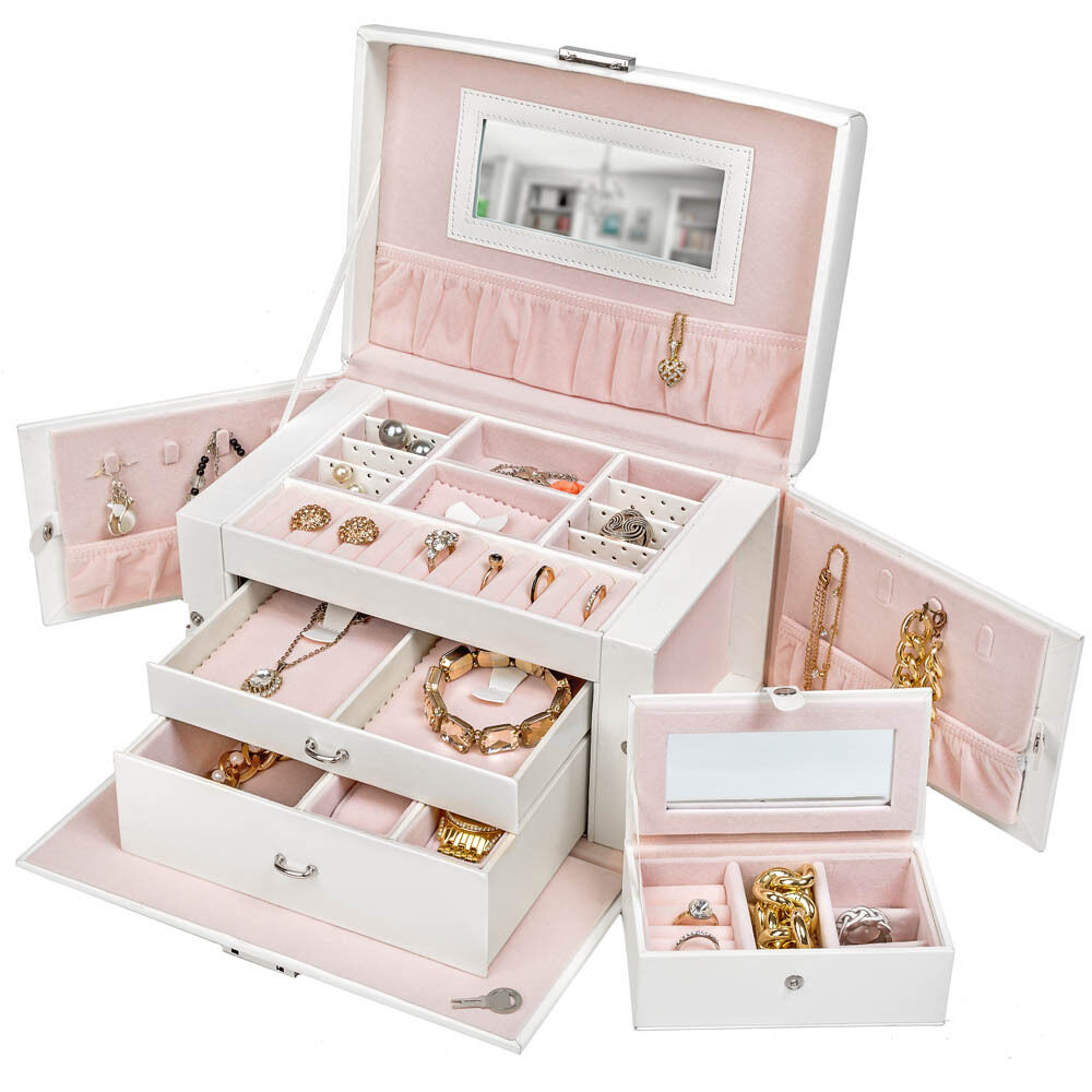 bo te bijoux coffret bijoux maquillage rangement montres bagues blanc ebay. Black Bedroom Furniture Sets. Home Design Ideas