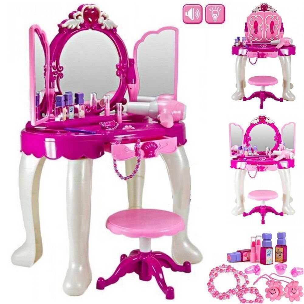 New Girls Pink Dressing Table Vanity Mirror Play Set Toy