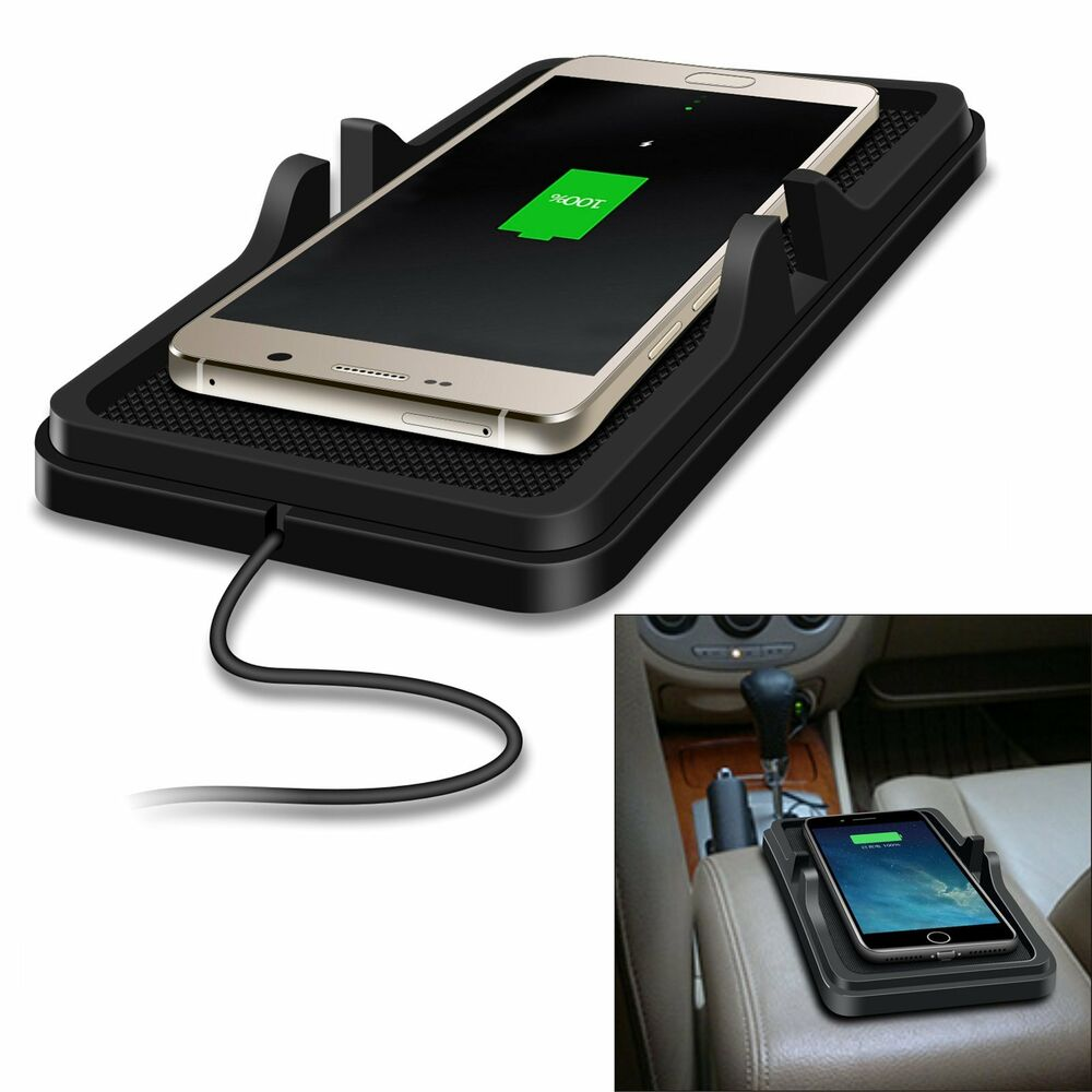 Qi Wireless Fast Charger Car Holder Non-Slip Pad Phone