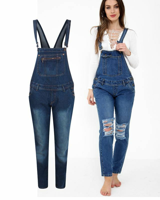 f41516329f Ladies Women Knee Ripped Denim Pinafore Dungaree Dress Overall Playsuit  Jumpsuit