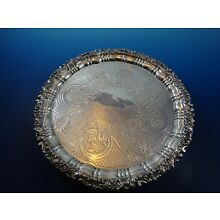 Vintage Silverplate Footed Tray w/ Fancy Edge