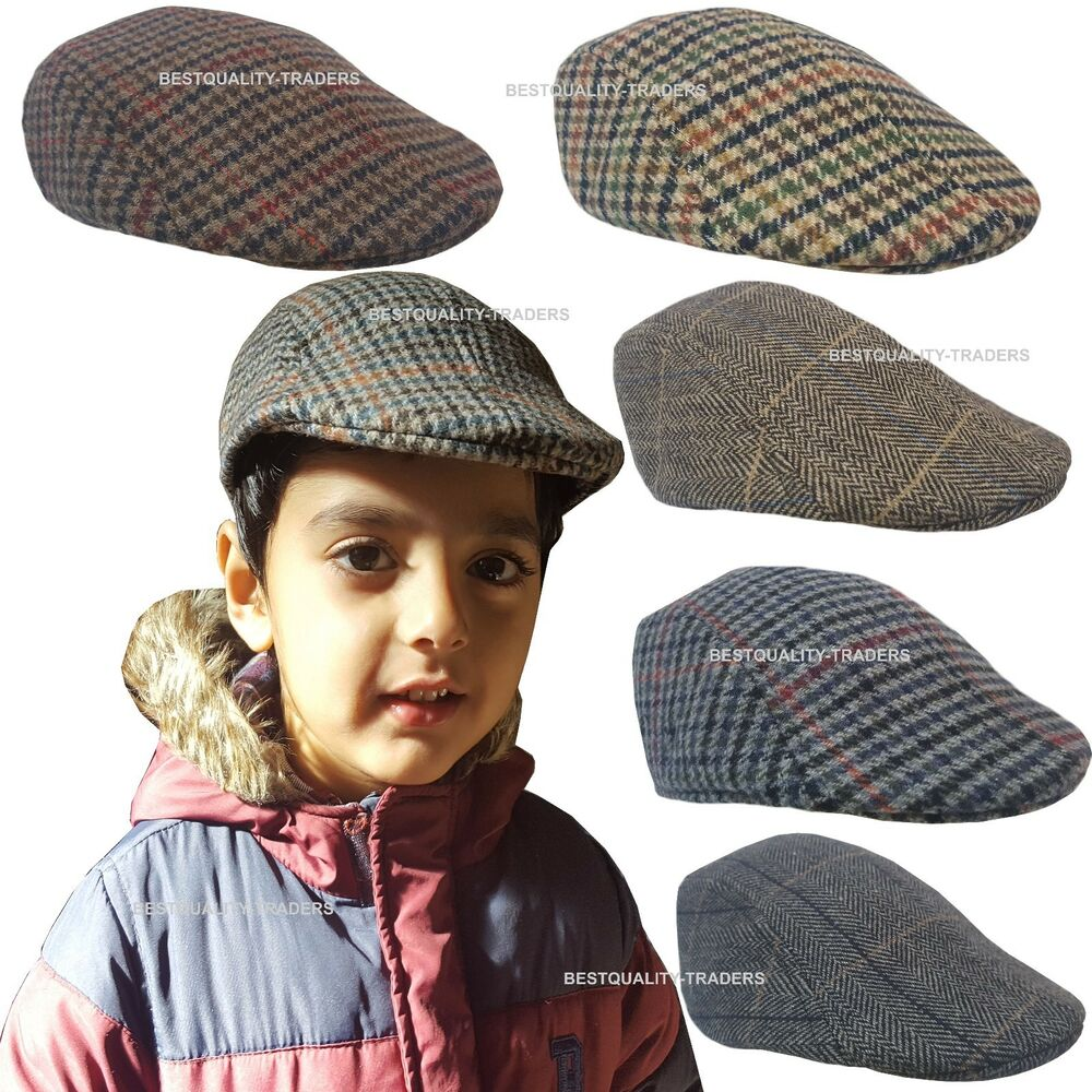 282989a9ccf Details about Kids Child Boys Girl Flat Cap Tweed Check Herringbone Newsboy  Peaky One Size Hat