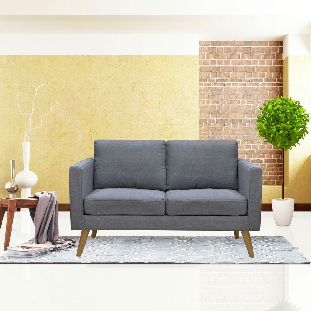 Details about linen fabric loveseat living room furniture 2 seat sofa couch with cushions gray