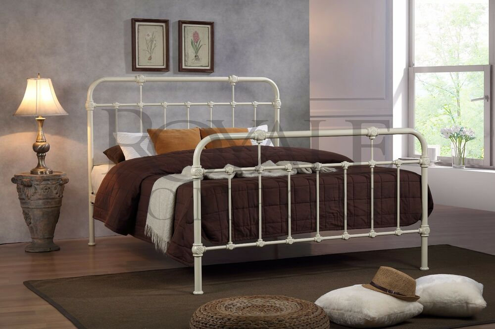 Sandy Double Metal Bed Frame Cream Hospital Style Small