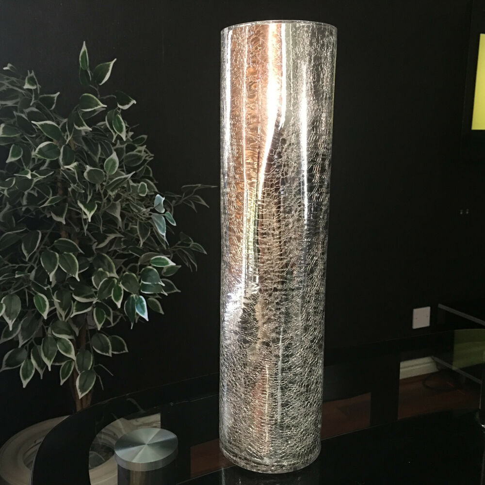 large silver mercury crackle mirrored glass vase 39cm tall crackle glass vase ebay. Black Bedroom Furniture Sets. Home Design Ideas