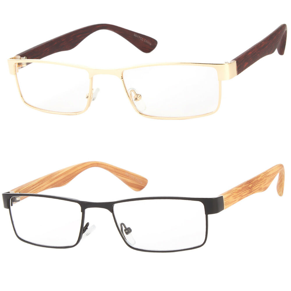 213d7ef0a37 Details about Nerdy Squared Clear Lens Non Prescription Faux Wood Side Unisex  Glasses