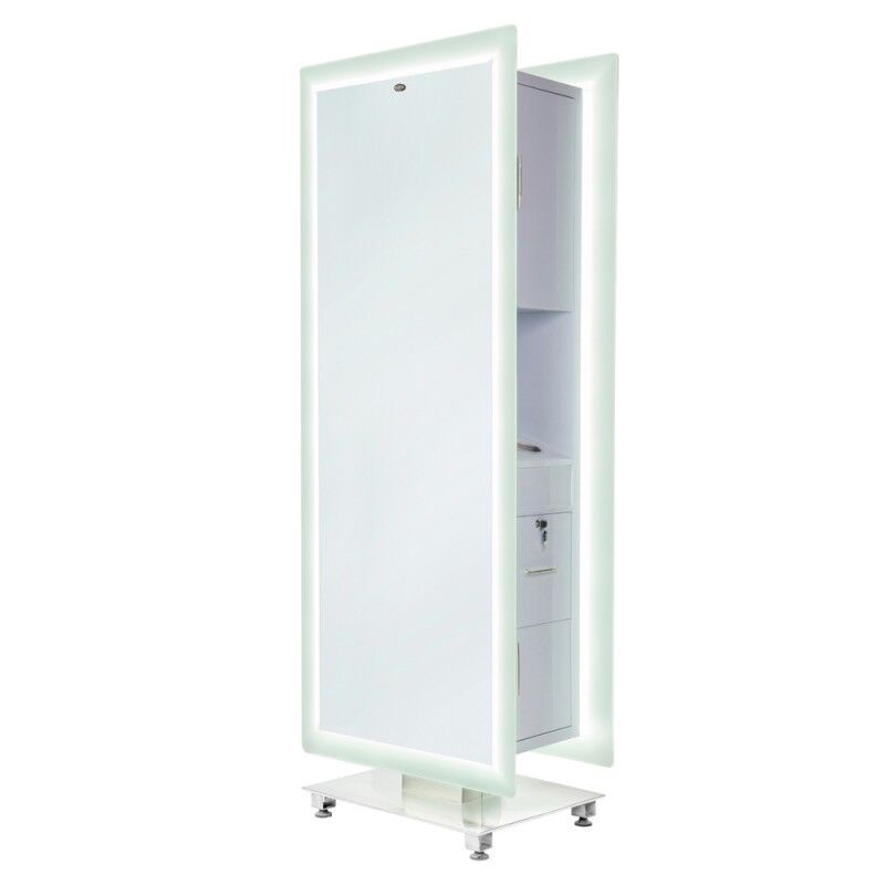 Led Lighted Salon Styling Station Free Standing Double