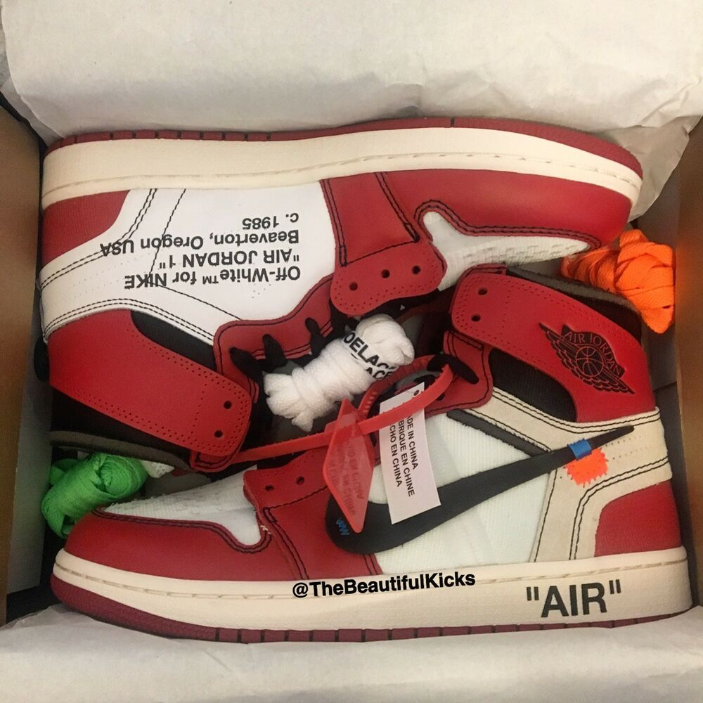 f2f6ca0a0d0a3 Details about Off-White x Nike Air Jordan 1 Chicago Retro High OG Off White  - AA3834-101 US 10