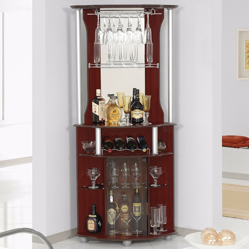 Corner Home Bar Liquor Cabinet Pub Furniture Wine Bottle Storage Stemware Rack Ebay