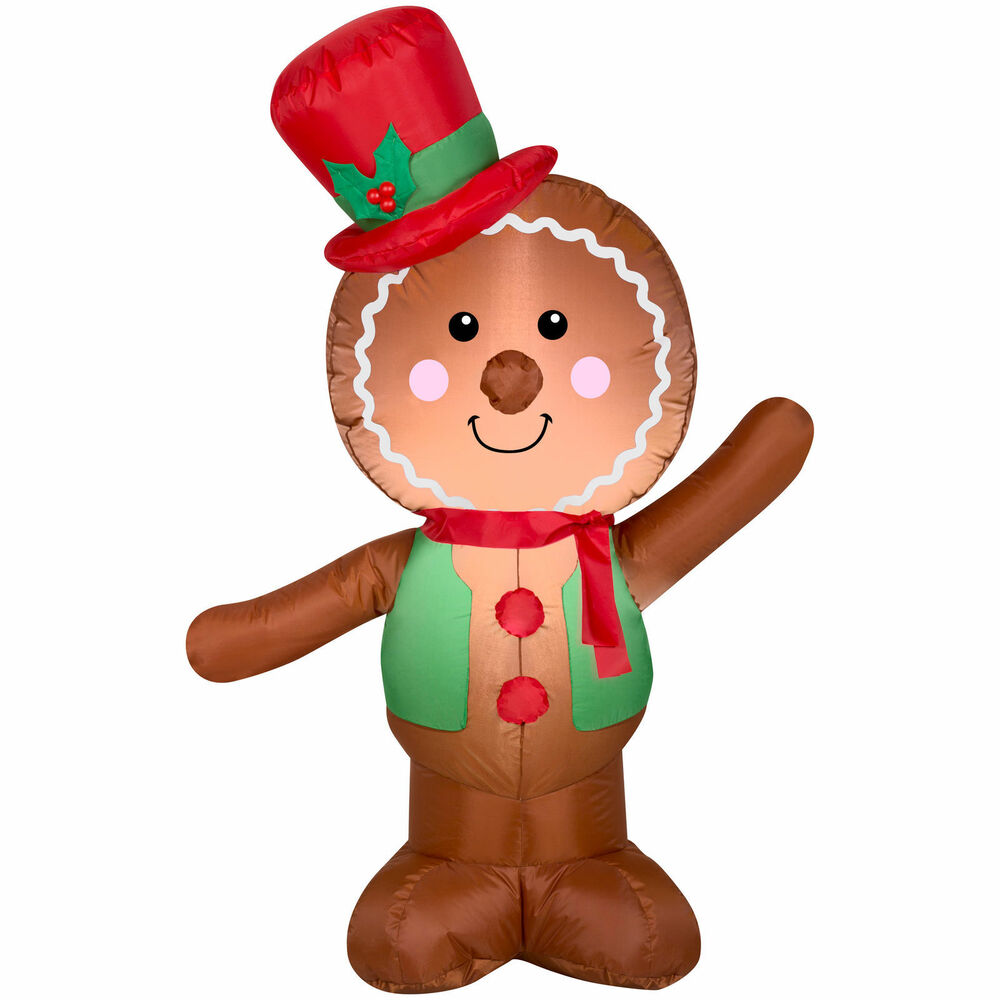 airblown inflatable gingerbread man 4ft tall by gemmy holiday time yard decor 86786114476 ebay - Inflatable Gingerbread Man Christmas Decor
