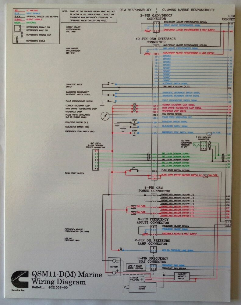 cummins laminated qsm11 d m marine wiring diagram ebay rh ebay com Bertram 46 Cummins Power Bertram 46 Cummins Power
