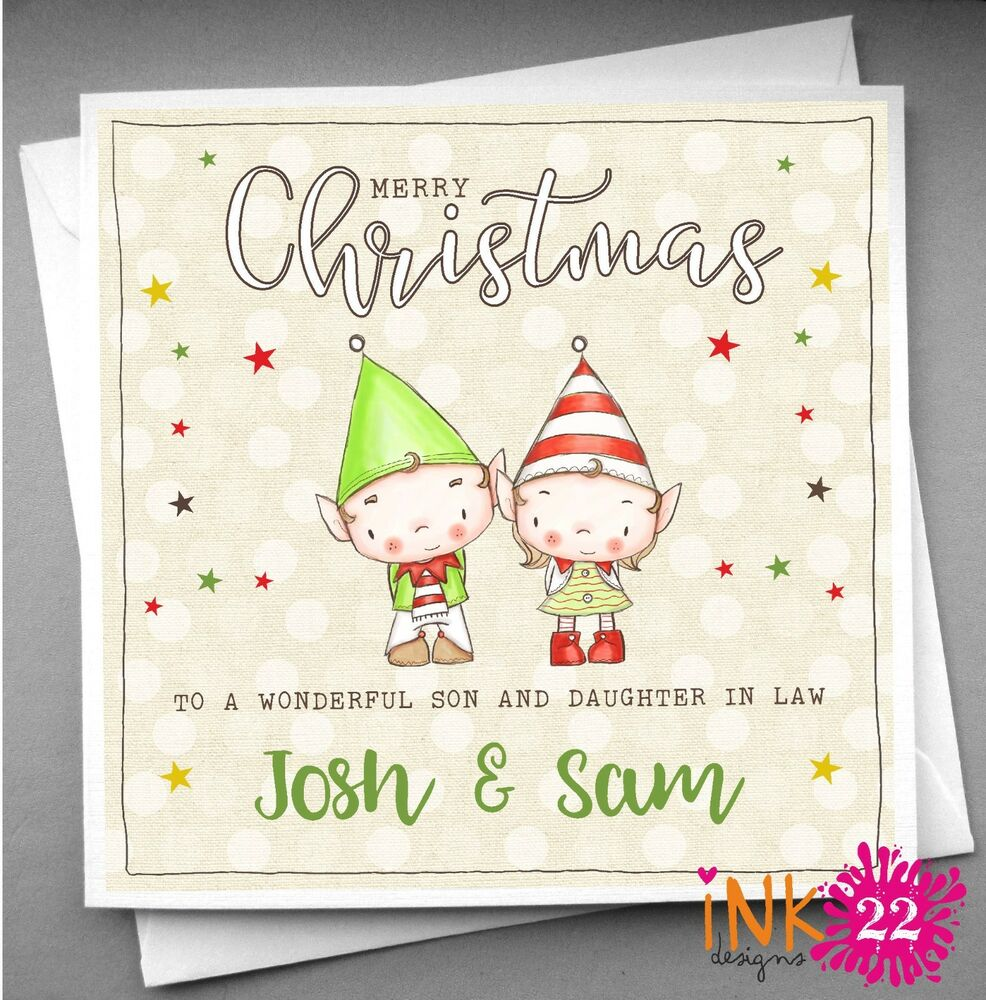 Personalised Christmas Card Special Couple Daughter and Son in Law ...