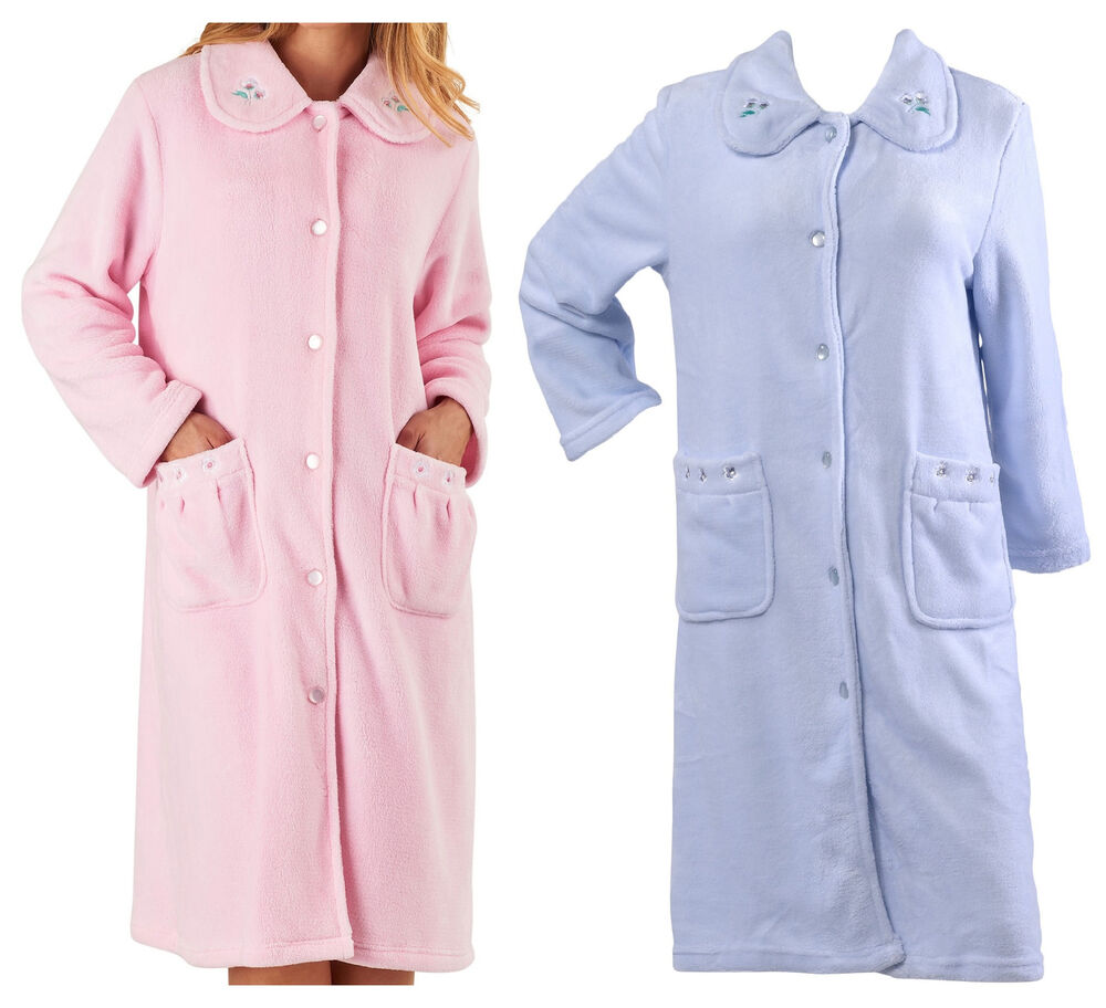 Ladies Dressing Gowns: Dressing Gown Womens Floral Collar Button Up Bath Robe