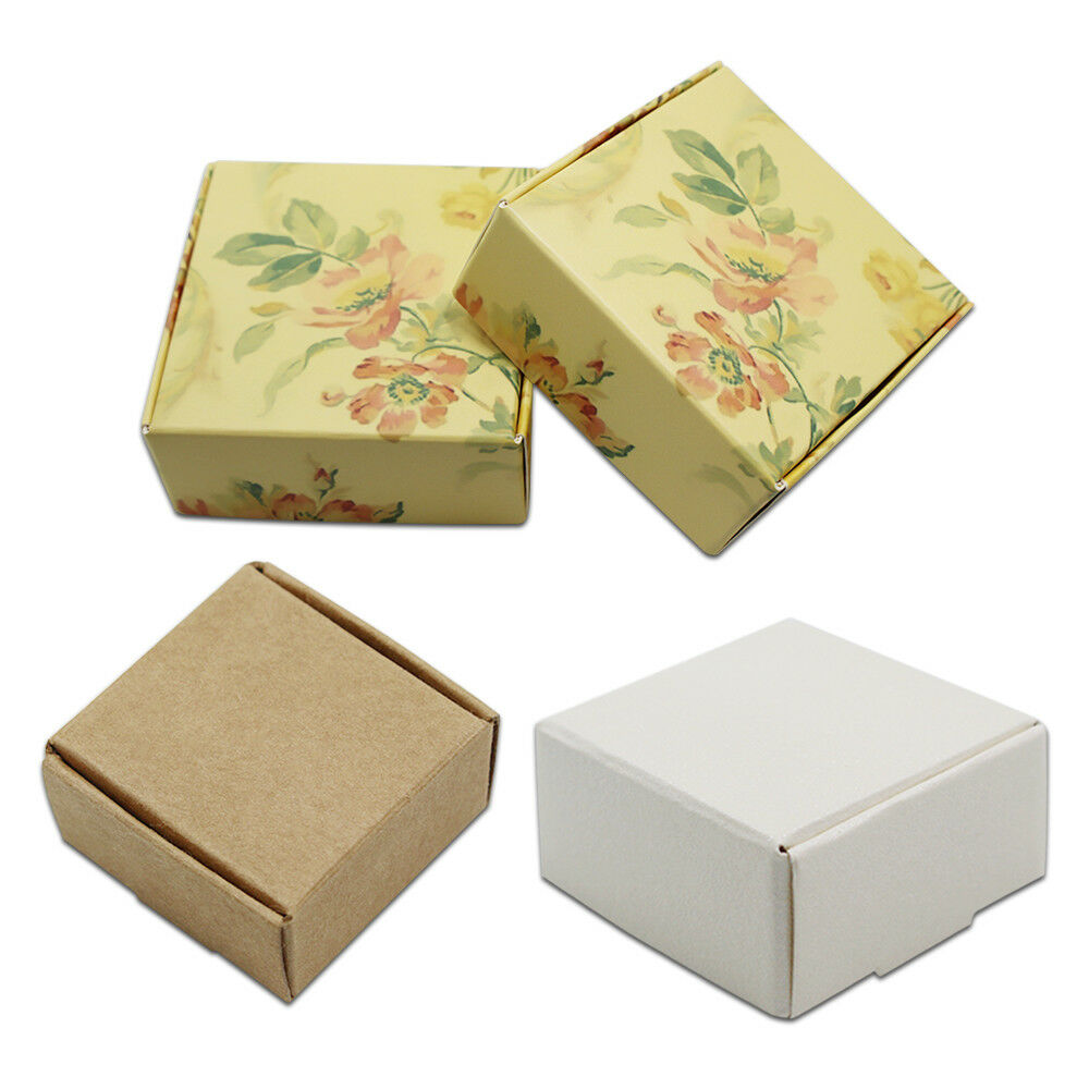 Kraft Paper Box Small Gift Wedding Favor Jewelry Candy Foldable ...