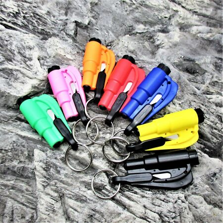 img-DUO VEHICLE EMERGENCY ESCAPE TOOL seatbelt cutter glass hammer survival kit EDC