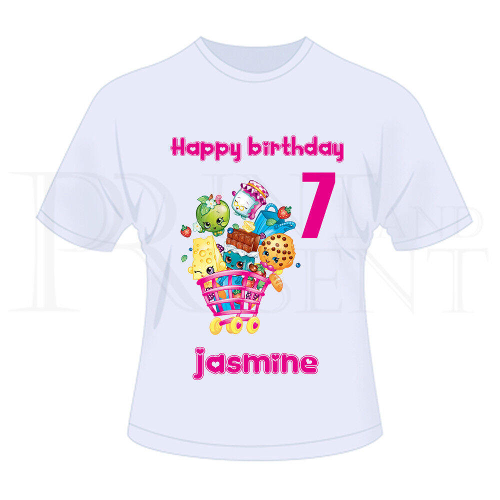fb8908a3a Details about Personalised Childrens Girls Shopkins Birthday T-Shirt (White)