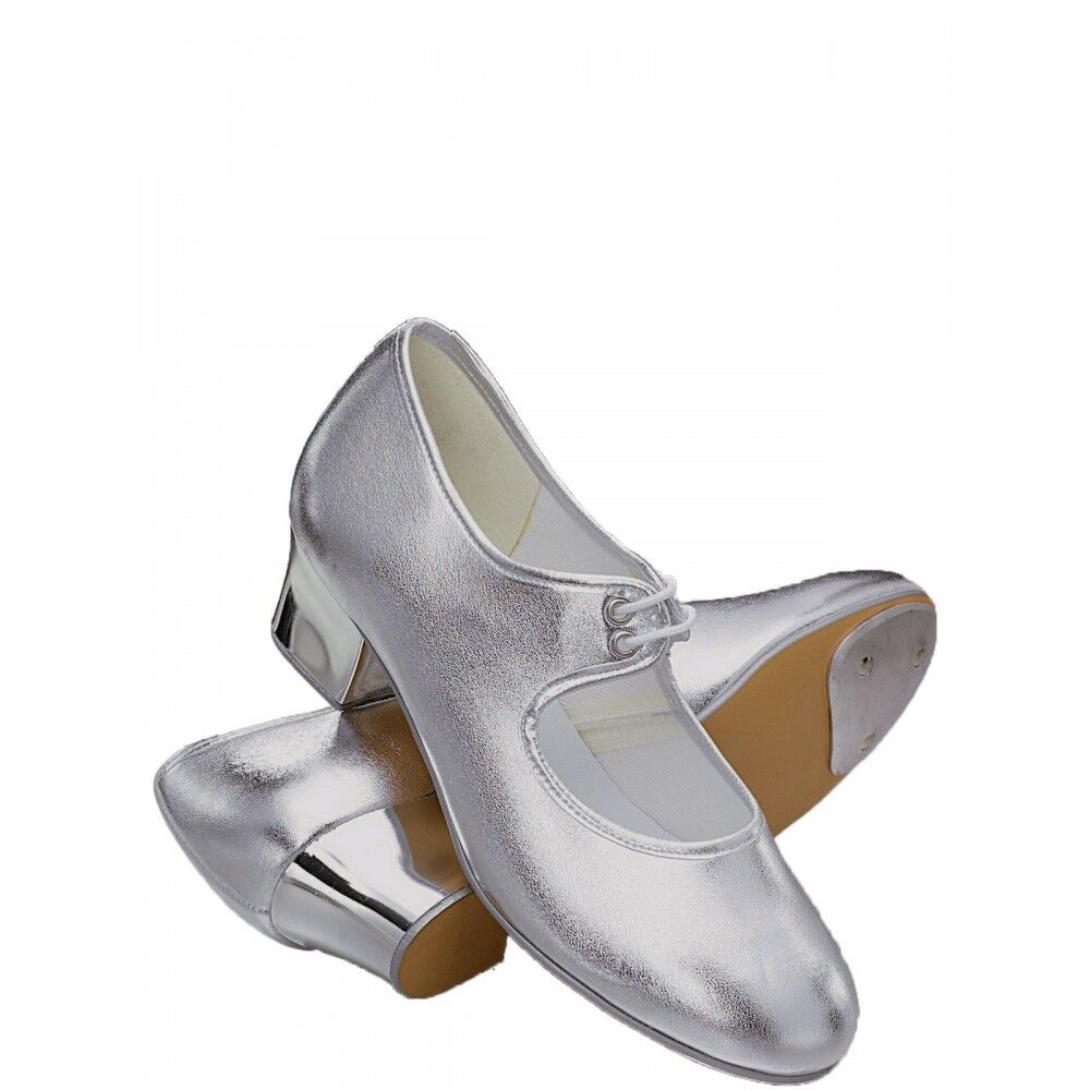ee5d016489a Details about Ladies  Girls Shiny Silver PU low   cuban heel TAP SHOES Roch  Valley Size 2