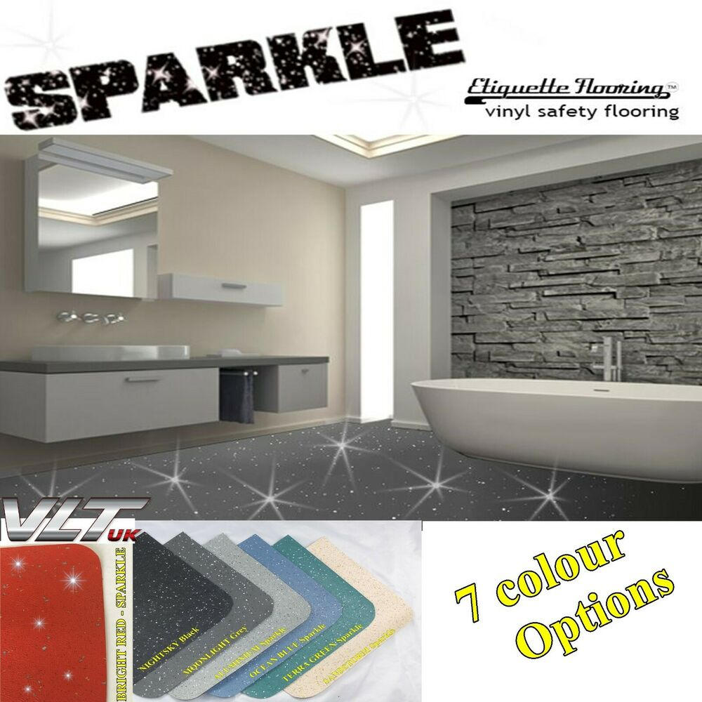 GREY SPARKLE SAFETY FLOORING BATHROOM FLOOR VINYL LINO