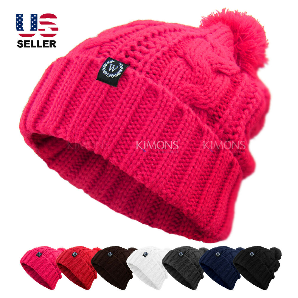 038e72787a8 Details about Cable POM-POM Knit Slouchy Baggy Beanie Oversize Winter Hat  Ski Cap Skull Womens