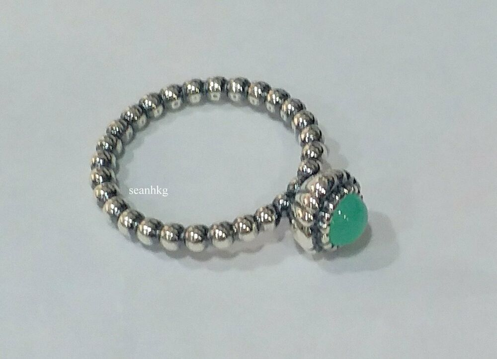 3c8851417 Details about Pandora Ring Birthday blooms, May Chrysoprase size 54 /  190854CH-54