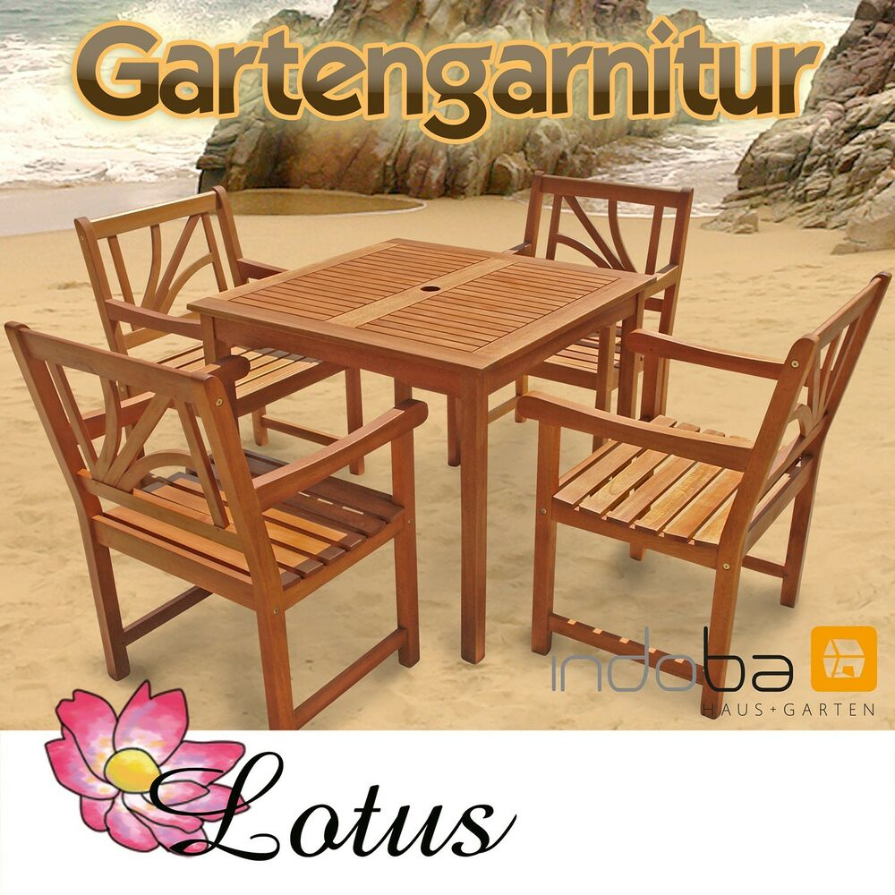 gartenm bel garnitur set 5 tlg holz tisch 4 st hle serie lotus von indoba ebay. Black Bedroom Furniture Sets. Home Design Ideas