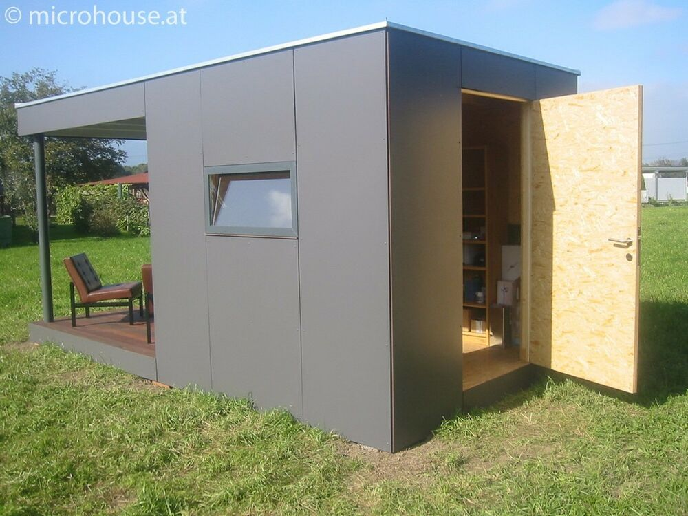 Blueprint for microhouse 12m cubasic modern cube garden shed with flat roof ebay - Gartenhaus container ...