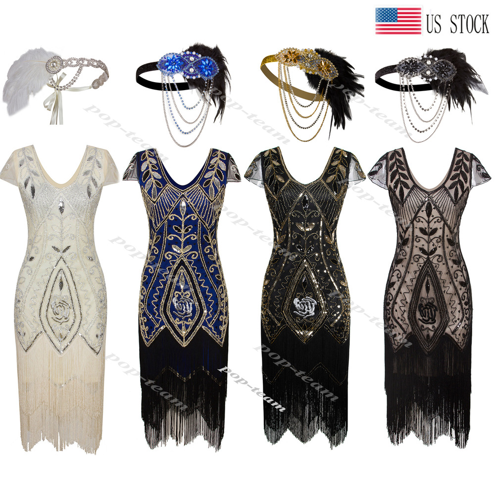 Vintage 1920s Flapper Dress Gatsby Roaring 20s Wedding Party Prom ...