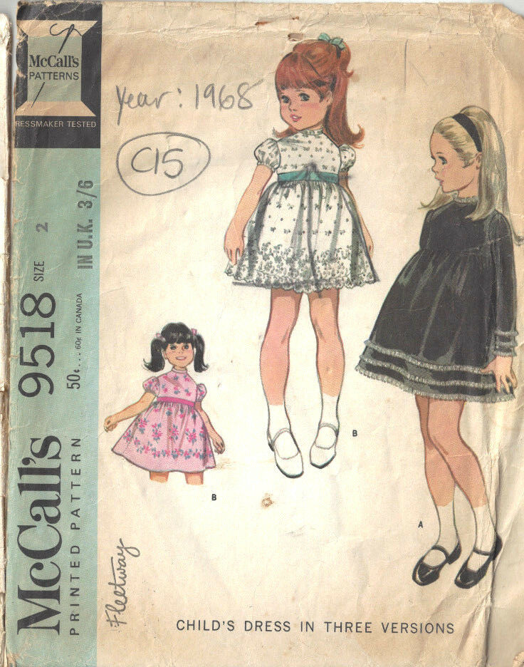 Details about 1968 Childrens Vintage Sewing Pattern S2 B21 DRESS (C15)