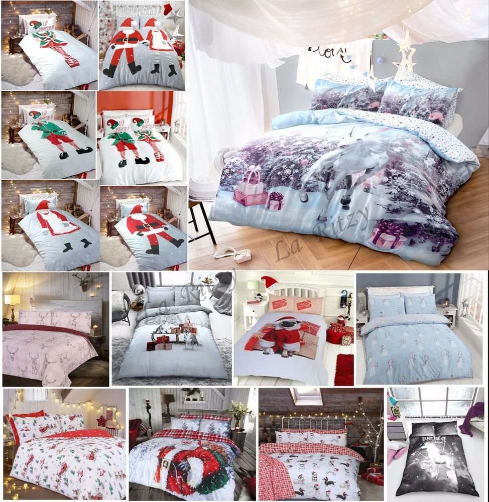 Christmas Duvet Cover Sets Single Double King Size New Unicorn Animal Bedding