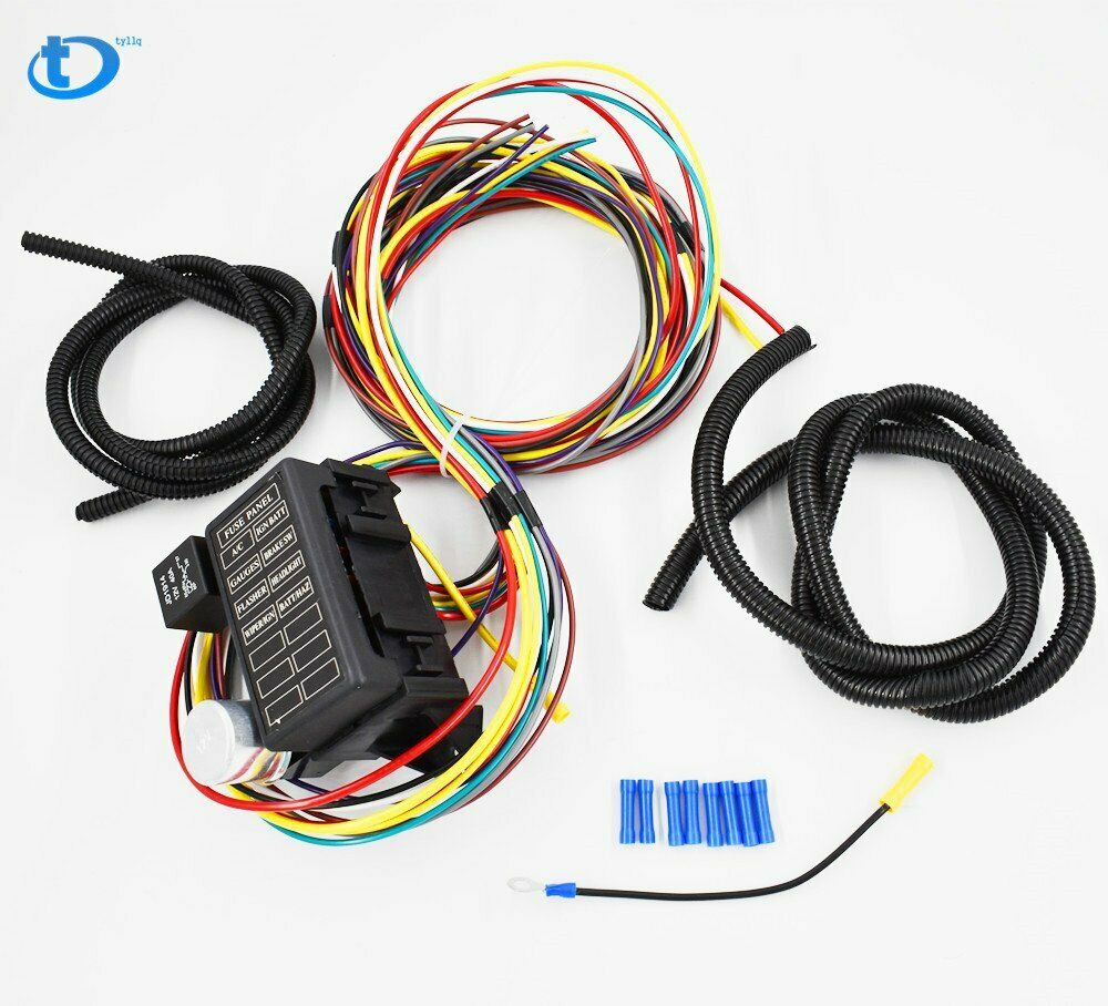 8 Circuit Universal Wire Harness Muscle Car Hot Rod Street