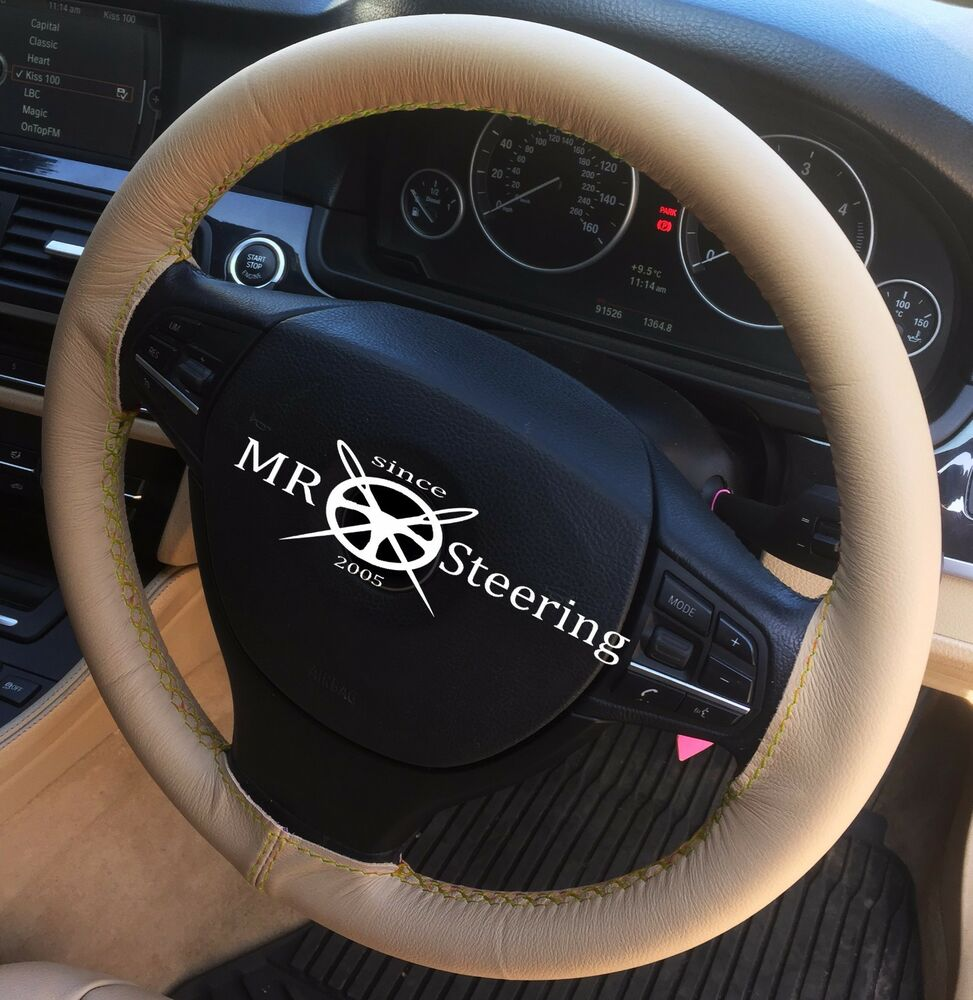 Details About For   Ford Ka Mk Beige Leather Steering Wheel Cover Yellow Double Stitching