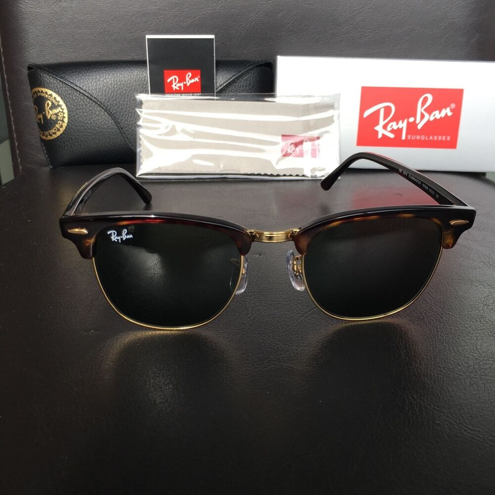 b3d68b01e66 Details about Ray Ban ClubMaster RB3016 W0366 Tortoise Frame Green G15 Lens  51mm