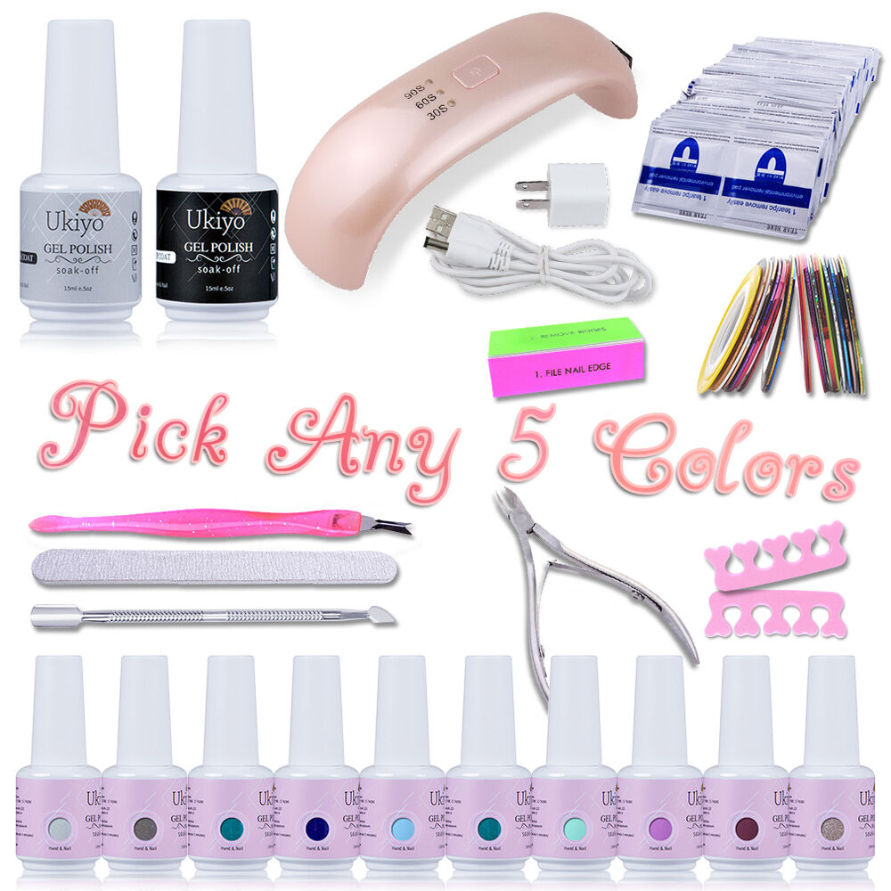 Uv Gel Nail Polish Starter Kit: Ukiyo UV Gel Nail Polish Starter Kit Set Top Base Coat Gel