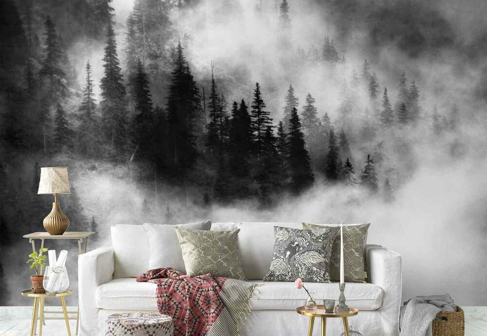 kiefern wald nebel vlies fototapete 1x 6611 tapete ebay. Black Bedroom Furniture Sets. Home Design Ideas