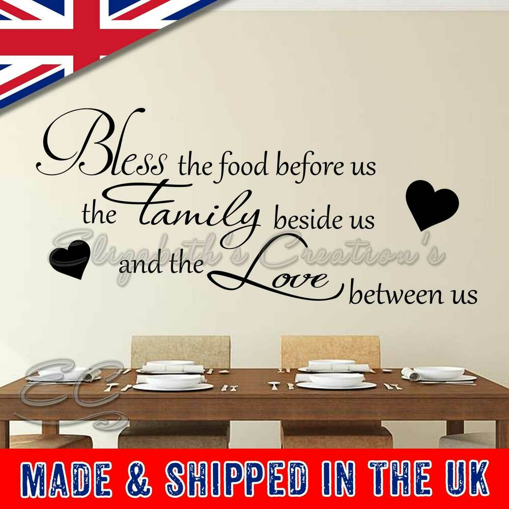 2bf39ba6093 Details about Inspirational Family Wall Stickers Bless The Food Before Us  Kitchen Dining Room