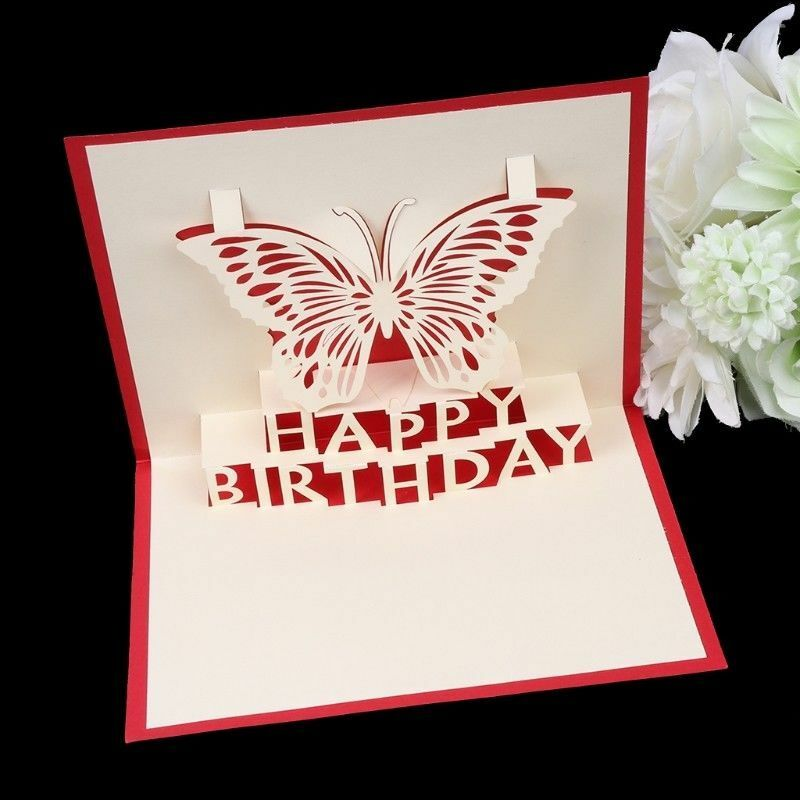 Details About 3D Handmade Pop Up Card Butterfly Happy Birthday Greeting Cards Invitations Gift