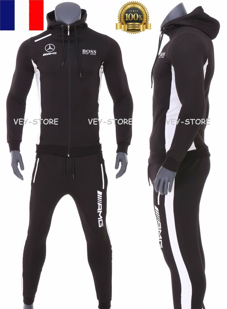 boss amg surv tement ensemble jogging training 2017 homme noir ebay. Black Bedroom Furniture Sets. Home Design Ideas