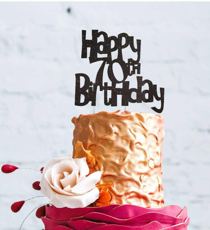 Details About Happy 70th Birthday Cake Topper