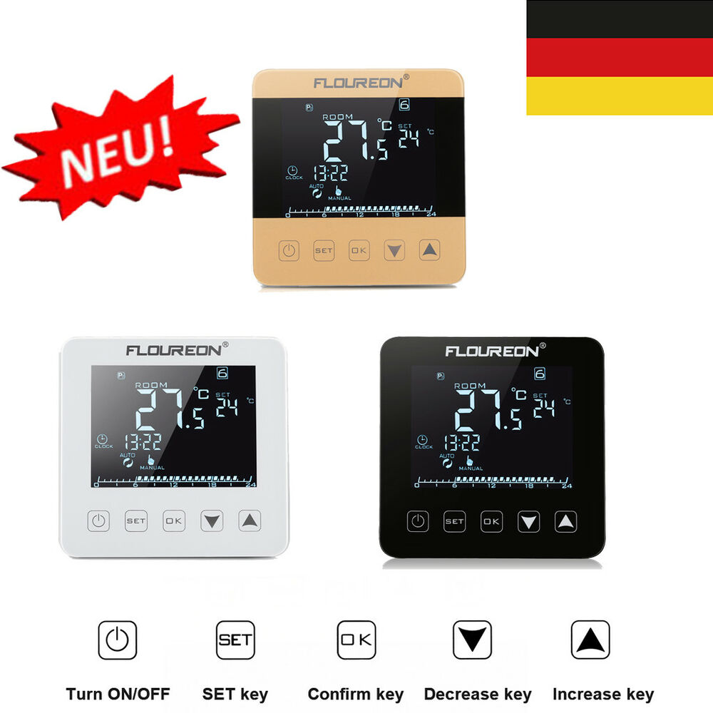 digital lcd thermostat raumthermostat raumregler fu bodenheizung heizk rper de ebay. Black Bedroom Furniture Sets. Home Design Ideas